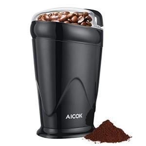 Aicok-Moulin--Caf-lectrique-Max-65g-Pour-Grains-de-Lin-Noix-Poivre-pices-et-Semences-de-Caf-Avec-Broyeur--Lame-en-Acier-Inoxydable-150W-Noir-0