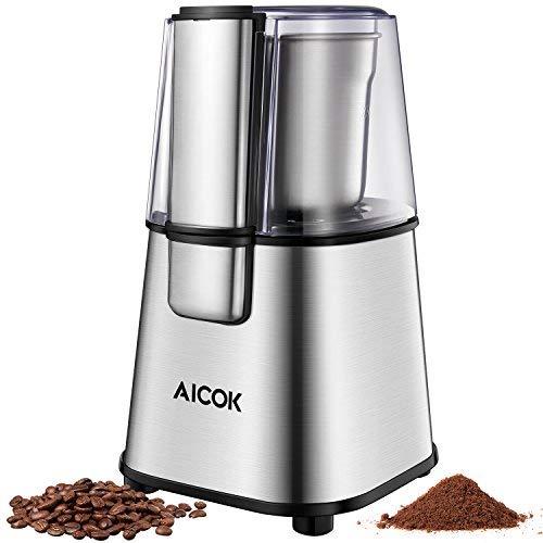 Aicok-Moulin–Caf-lectrique-et-220-W-Mixeur-lectrique-Broyeur–Caf-Lames-en-Acier-Inoxydable-et-Gobelet-Amovible-pour-Grains-de-Lin-Noix-Poivre-pices-et-Semences-de-Caf-0
