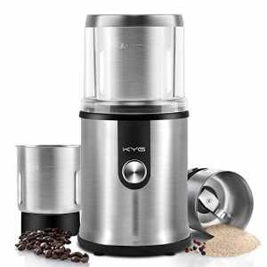 Moulin--Caf-lectrique-KYG-Broyeur--Caf-avec-Deux-Bols-Amovibles-pour-Grains-de-Lin-Noix-Poivre-pices-et-Semences-de-Caf-Acier-Inoxydable-0