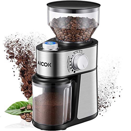 Aicok-Moulin–Caf-lectrique-avec-18-Rglages-Fin–Grossier-Moulin–Caf-14-Tasses-avec-Capacit-de-250-g-de-Haricots-Broyeur-Conique–Graines-de-Lin-Noix-Poivre-pices-Inox-0