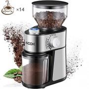 Aicok-Moulin--Caf-lectrique-14-Tasses-18-Rglages-Dpaisseur-en-Capacit-de-250-Grammes-Broyeur-Conique--Graines-de-Lin-Noix-Poivre-pices-Inox-220W-Argent-0