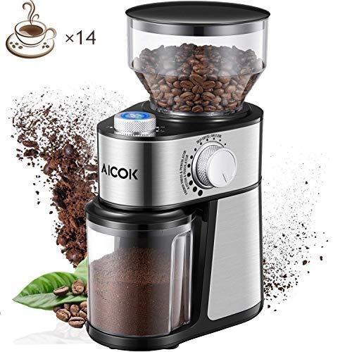 Aicok-Moulin–Caf-lectrique-14-Tasses-18-Rglages-Dpaisseur-en-Capacit-de-250-Grammes-Broyeur-Conique–Graines-de-Lin-Noix-Poivre-pices-Inox-220W-Argent-0