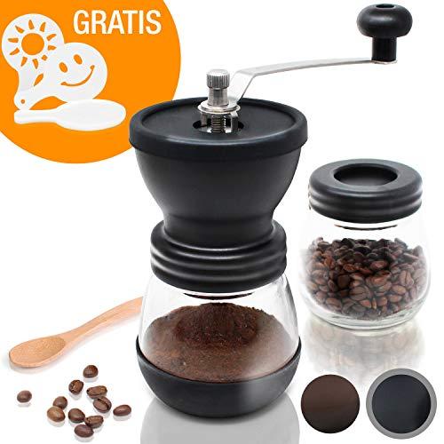 Amazy-Moulin-manuel-avec-2-rcipients-et-16-pochoirs–latte-Moulin-manuel–meule-en-cramique-pour-un-caf-finement-moulu-Noir-0