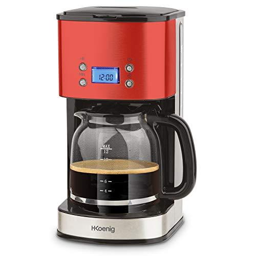 HKoenig-Cafetire-Programmable–filtre-Rouge-Inox-15L-12-tasses-MG30-1000W-Carafe-en-Verre-Gradu-Systme-Anti-Gouttes-Maintien-au-chaud-Ecran-LDC-Arrt-auto-Porte-filtre-amovible-lavable-0