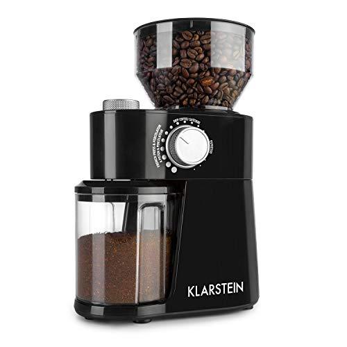 Klarstein-Florenz-Moulin–caf-Puissance-200-watts-18-niveaux-Capacit-de-240-grammes-Entretien-facile-Broyeur–disque-en-inox-Systme-de-broyage-FlatBurr-Noir-0